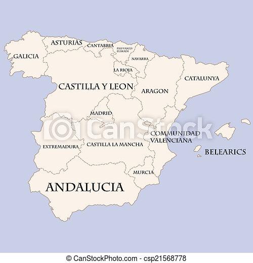 Malaga Spagna Cartina.Regioni Mappa Nomi Spagna Regioni Mappa Vettore Nomi Spagna Canstock