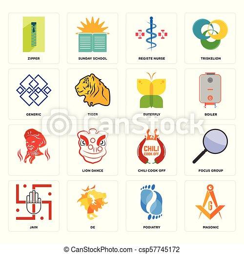 registe, set, icone, generico, , cuoco, masonic, infermiera, buterfly, peperoncino, podiatry, chiusura lampo, spento, jain - csp57745172