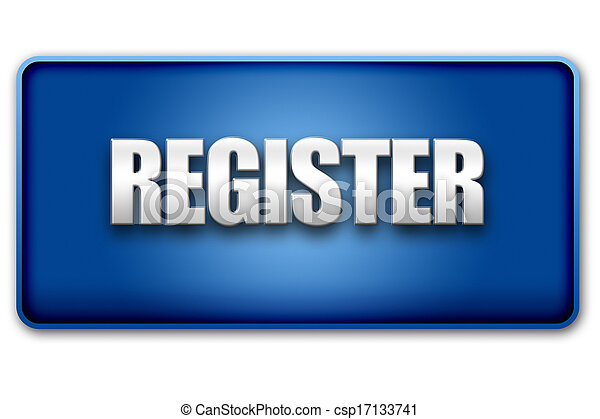 Register 3D Blue Button on White Background - csp17133741