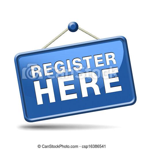 register here sign - csp16386541