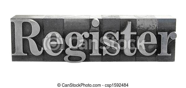 register in old metal type - csp1592484