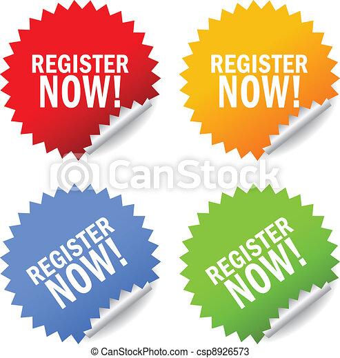 Register now vector sticker - csp8926573