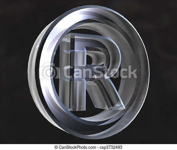 registered symbol in transparent glass 3d csp3732493