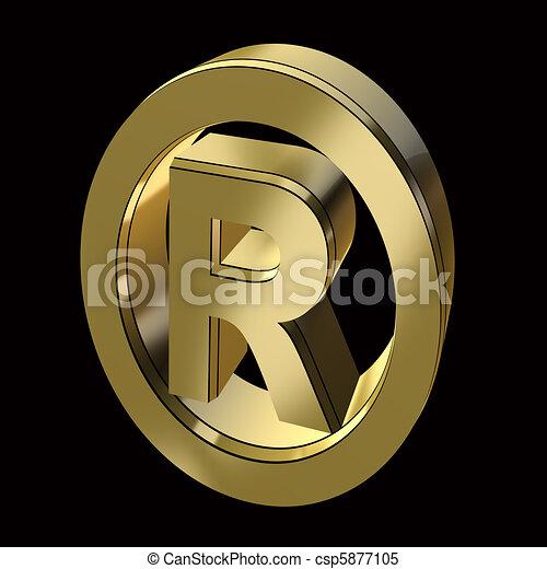 Registration Mark Symbol In Gold On A Black Background