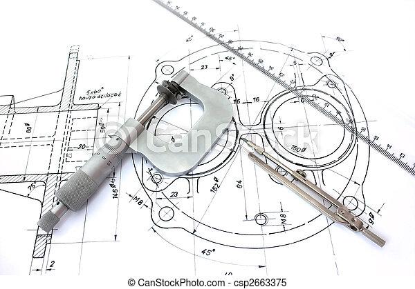 regla, blueprint., micrómetro, compás - csp2663375