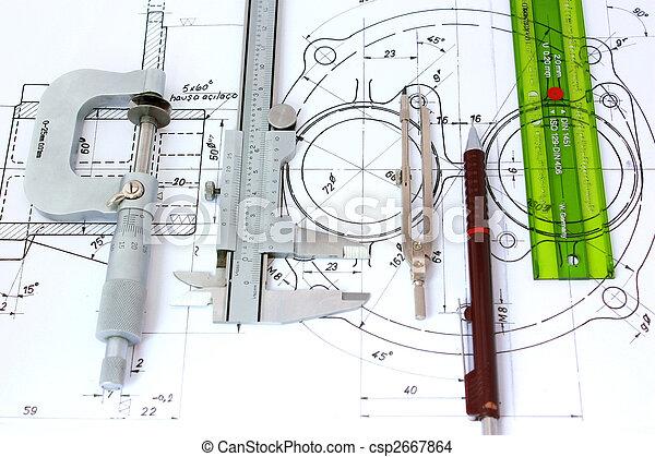 regla, mecánico, micrómetro, plantilla, compás, calibrador, lápiz, blueprint. - csp2667864