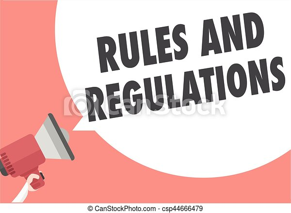 Reglas y regulaciones del megáfono - csp44666479