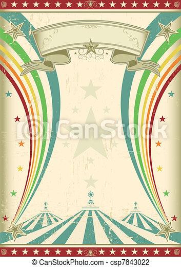 regnbåge, cirkus, årgång, affisch - csp7843022