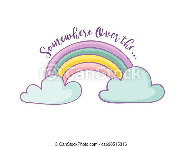 regnbue, -, hilsen card, cute - csp38515316