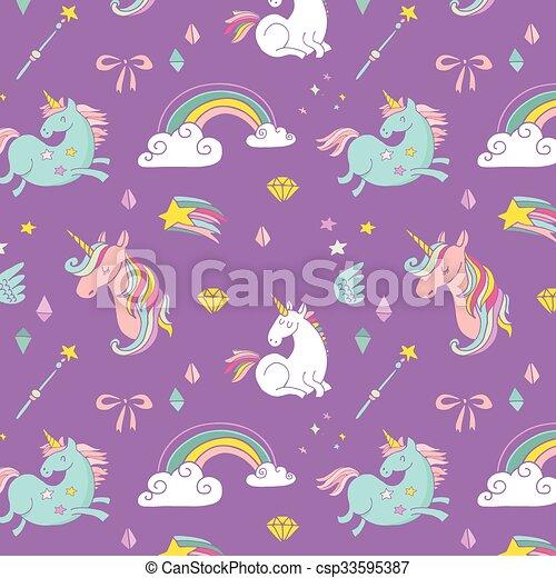 regnbue, trylleri, mønster, -, hånd, enhjørning, stram, fairy, vinger - csp33595387