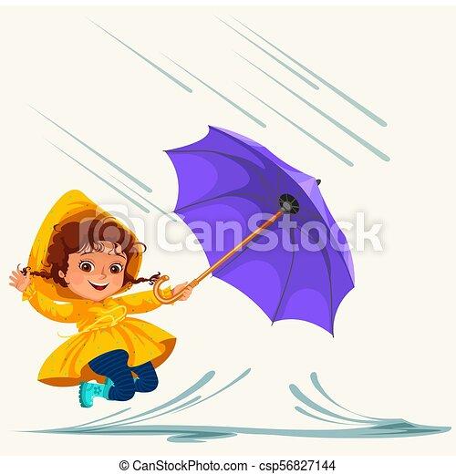 Kinder, die unter Regen stehen, mit einem Regenschirm, Regentropfen tropfen in Pfützen, Regenjungen oder Mädchen in wasserdichter Jacke und Gummistiefel, die über Wasservektor Illustration springen - csp56827144