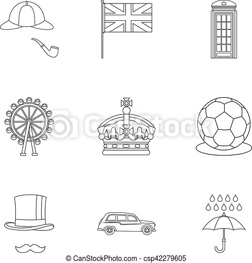 regno, stile, unito, contorno, icone, set, turismo - csp42279605