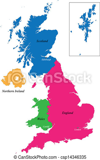 Immagini Cartina Regno Unito.Regno Unito Regno Mappa Unito Colorato Luminoso Illustrazione Regioni Colori Disegnato Canstock