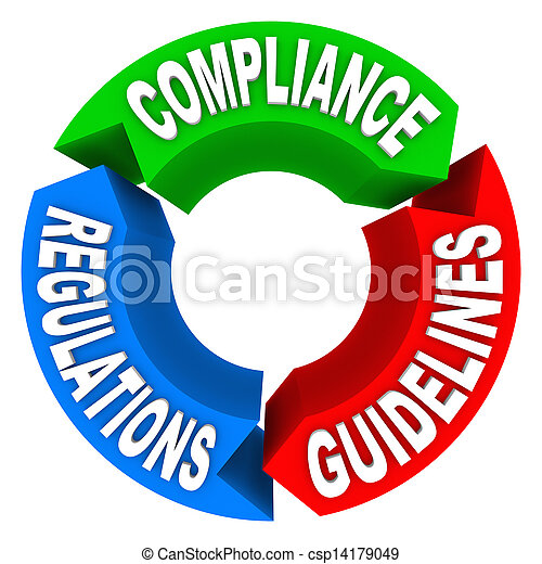 regulamentos, conformidade, regras, diretrizes, diagrama, seta, sinais - csp14179049