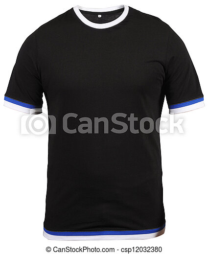 regular black male T-shirt with blue and white stroke isolated on white background - csp12032380