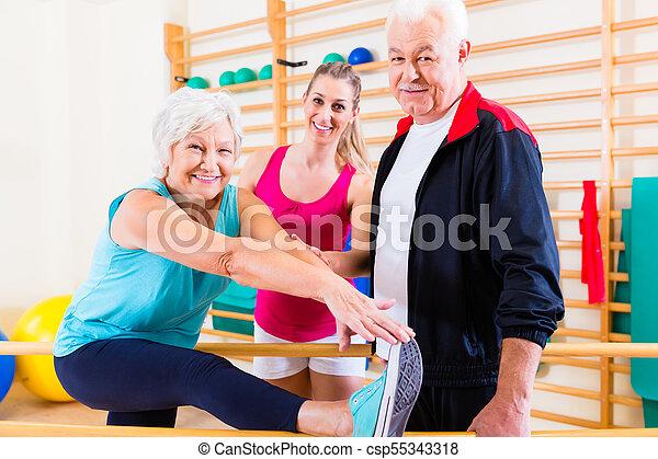 rehab, senior, therapie, lichamelijk - csp55343318