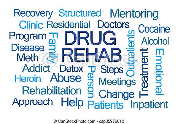 rehab, woord, medicijn, wolk - csp35976612