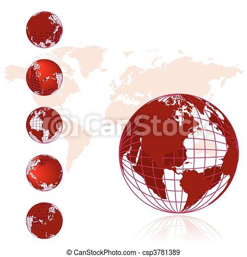 Weltkarte, 3D- Globus-Serie - csp3781389