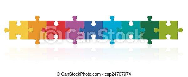 reihe, puzzel, gefärbt, stücke - csp24707974