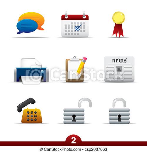 reihe, universal, ikone, -, web - csp2087663