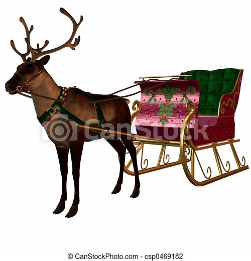 Reindeer and Sleigh - csp0469182
