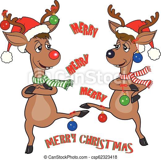 Reindeer Carton Dancing Celebrating Christmas
