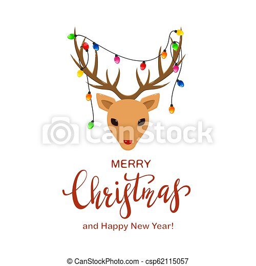 Reindeer Head with Christmas Lights on the Antlers - csp62115057