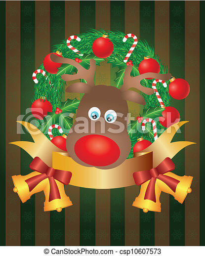 Reindeer in Christmas Wreath Illustration - csp10607573