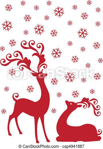 reindeer in snowfall, vector - csp4941887