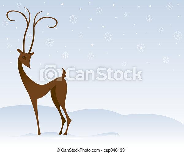 Reindeer in the Snow - csp0461331