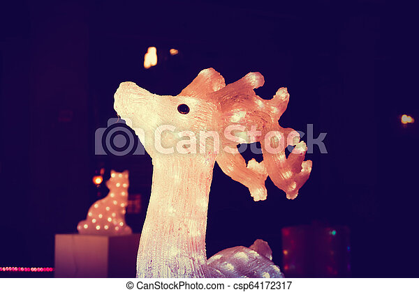 Reindeer light bulb in Christmas day - csp64172317