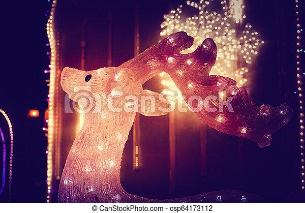 reindeer light bulb in Christmas day - csp64173112