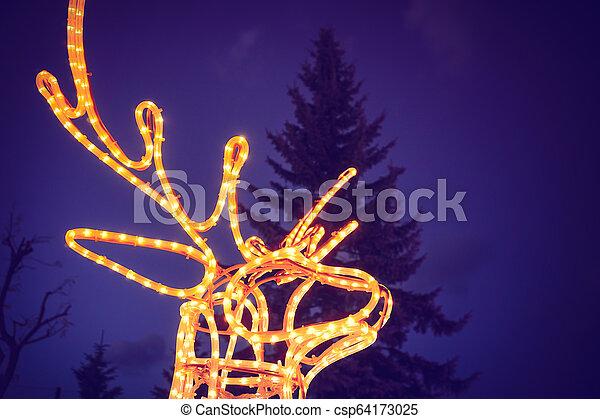 reindeer light bulb in Christmas day - csp64173025