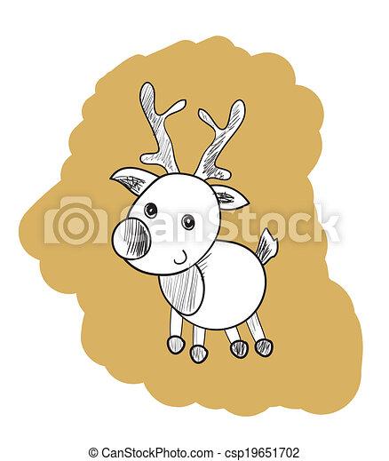 reindeer outline illustration clip art illustration