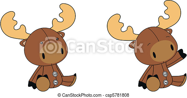 reindeer plush cartoon  - csp5781808