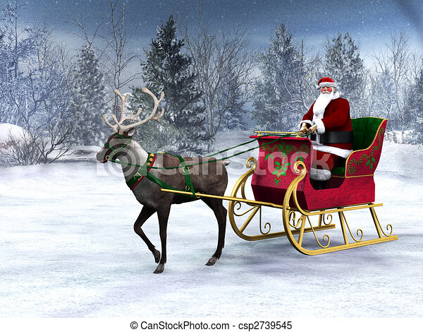 Reindeer pulling a sleigh with Santa Claus. - csp2739545