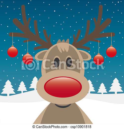 reindeer red nose and christmas balls - csp10901818