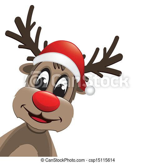 ae1364cf6fa30 Reindeer red nose and santa hat. Rudolph reindeer red nose and santa ...