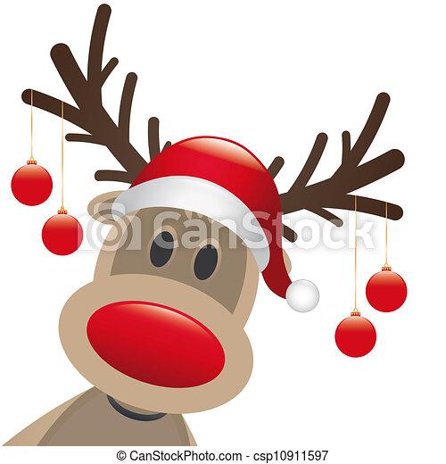 reindeer red nose christmas balls - csp10911597