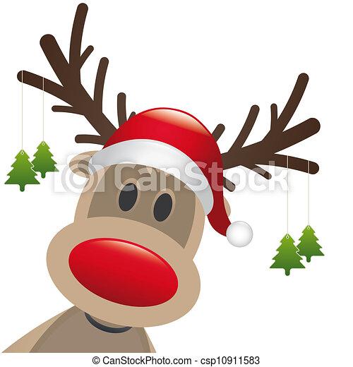 reindeer red nose hang christmas tree - csp10911583
