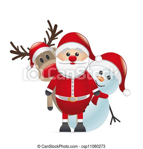 reindeer red nose santa claus snowman - csp11080273