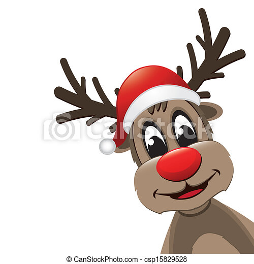 39e1cc975e315 Reindeer red nose with santa hat isolated.