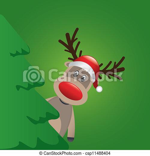 reindeer santa hat behind christmas tree - csp11488404