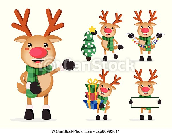 Reindeer vector characters set. Rudolph cartoon characters holding christmas elements - csp60992611