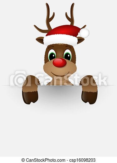 Reindeer with red nose and Santa hat. - csp16098203
