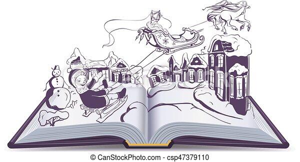 Illustration Conte De Fée reine, neige, illustration, conte, livre, fée, ouvert. queen., neige