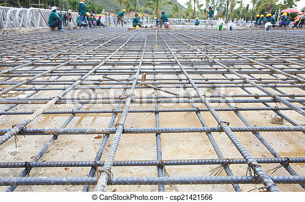 reinforce iron cage net for built building floor in construction - csp21421566
