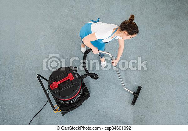 Reiniger Boden Putzen Weibliche Vakuum Hausmeister Reiniger