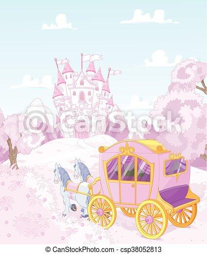 reino, carruagem, princesa, costas - csp38052813