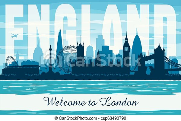 London United Kingdom City Skyline vector silueta - csp63490790